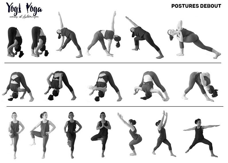 Retrouvez sur cette fiche toutes les postures debout de la première série d'Ashtanga proposées en cours débutant.